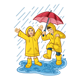 Children in Raincoats with an umbrella in the rain
