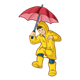 Boy Wearing Raincoat holding an umbrella