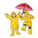 Children in Raincoats with an umbrella
