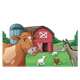 Red Barn Scene with barnyard animals