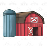 Red Barn with Gray Silo
