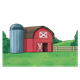 Red Barn with Gray Silo scenery