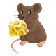 Little Brown Mouse holding cheese