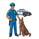 Police Officer and Dog with police car in background