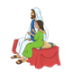 Jesus Sitting on a Bed with Jairus's daughter