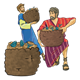 Two Disciples with baskets of bread and fish
