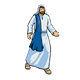 Jesus walking, with hand extended
