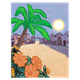 Bible Town with palm tree, flowers, in moonlight