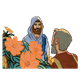 Jesus and Bartimaeus standing by orange flowers
