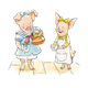 Two Girl Pigs having tea