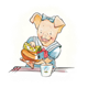Girl Pig in blue dress pouring tea, has background