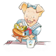 Girl Pig in blue dress pouring tea