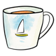 Teacup with sailboat