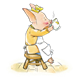 Girl Pig in yellow dress on stool, drinking tea, floor