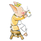 Girl Pig in yellow dress on stool, drinking tea