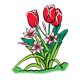 Three Red Tulips with pink flowers