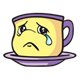 Sad Teacup purple and yellow with tear