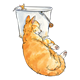 Orange Cat Sleeping lying next to mouse on pail