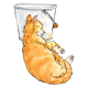 Orange Cat Sleeping lying next to pail