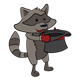 Winter Raccoon holding a top hat