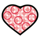 Red Heart with pink circles