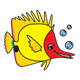 Yellow Fish with red face and bubbles