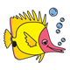 Yellow Fish with pink face and bubbles