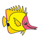 Yellow Fish with pink face, without bubbles