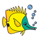 Yellow Fish with green face and bubbles