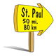 Yellow Arrow Sign pointing to St. Paul