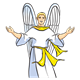 Angel praising God with arms outstretched