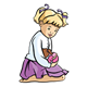 Blond Girl sitting, holding doll