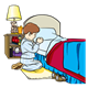 Boy on knees, praying beside bed and nightstand