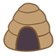 Beehive dome-shaped with opening