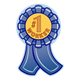 Number 1 Worker Ribbon incentive award, blue ribbon