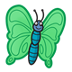 Green Butterfly blue body