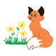 Orange Fox sitting with flowers