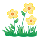 Three Yellow Flowers with grass