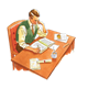 Man Sitting at Desk working
