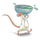White Mouse carrying bowl