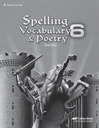 Spelling, Vocabulary, and Poetry 6 Test Key