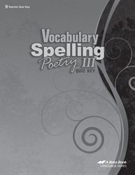 Vocabulary, Spelling, Poetry III Quiz Key