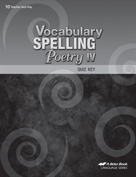Vocabulary, Spelling, Poetry IV Quiz Key