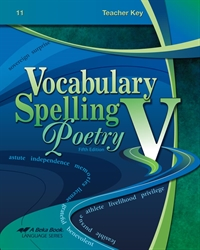 Vocabulary, Spelling, Poetry V Teacher  Key