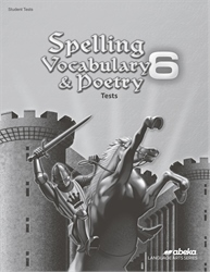 Spelling, Vocabulary, and Poetry 6 Test Book