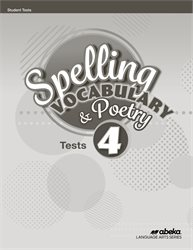 Spelling, Vocabulary, and Poetry 4 Test Book—Revised