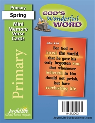 God's Wonderful Word Primary Mini Memory Verse Cards
