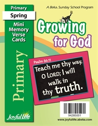 Growing for God Primary Mini Memory Verse Cards