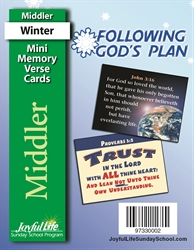 Following God's Plan Middler Mini Memory Verse Cards
